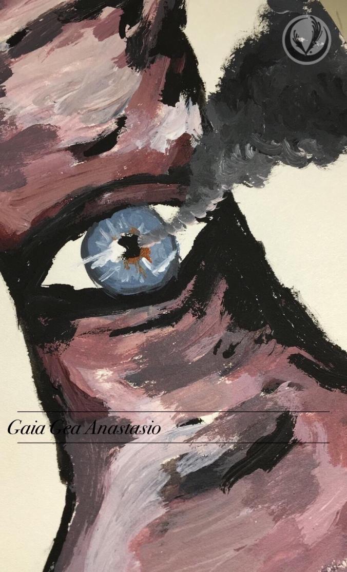 Il dipinto è di Gaia Gea Anastasio, potete seguirla sul suo profilo Instagram @gea_life e trovate i suoi lavori artistici seguendo @gea_life_art